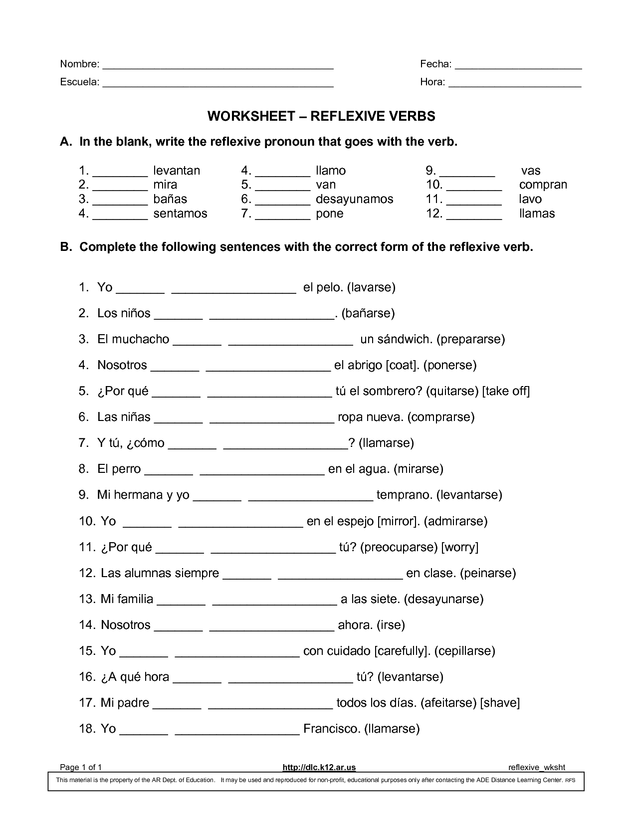 Spanish 1 Worksheets For High School