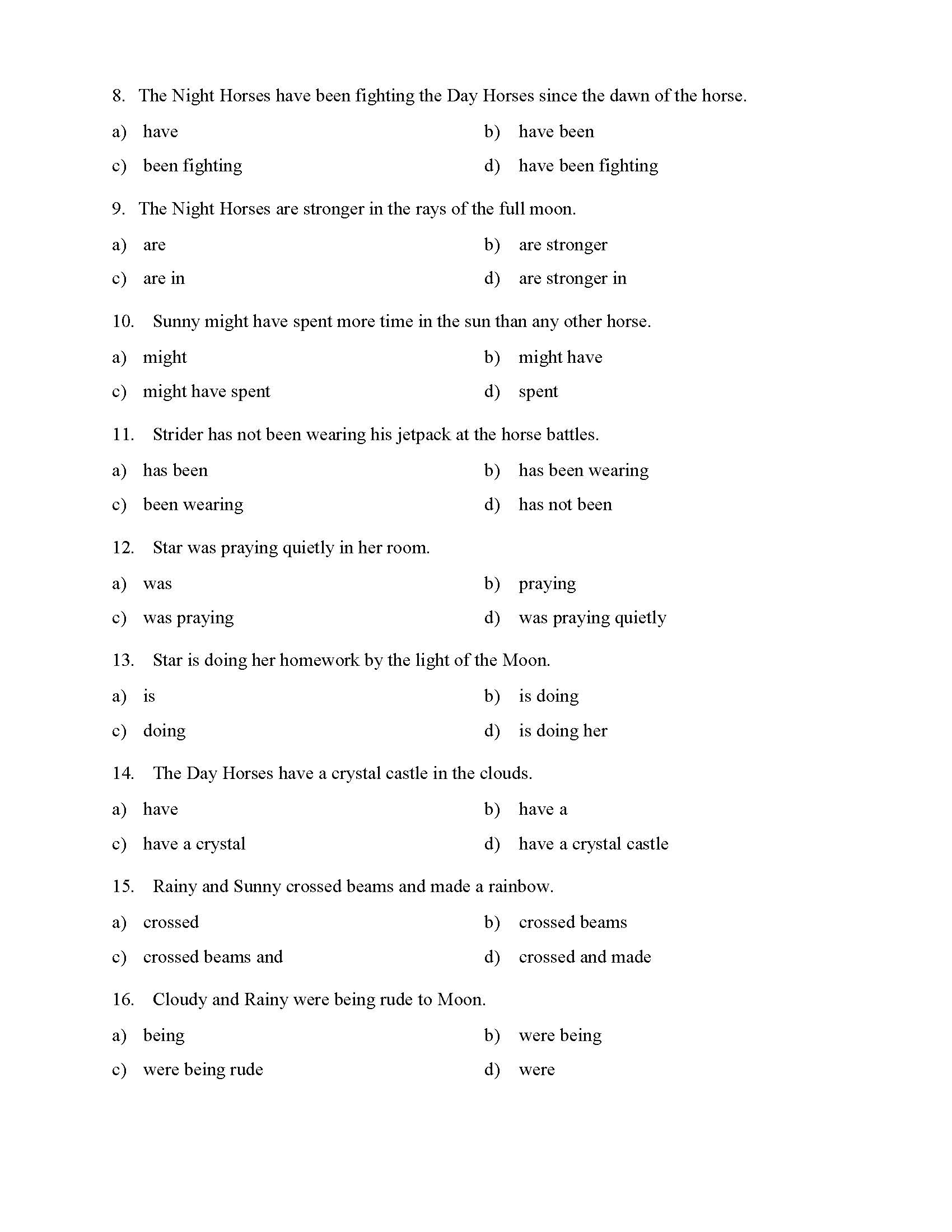 Verb Phrase Worksheets For High School
