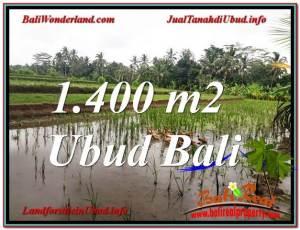TANAH di UBUD JUAL MURAH 1,400 m2 View Sawah