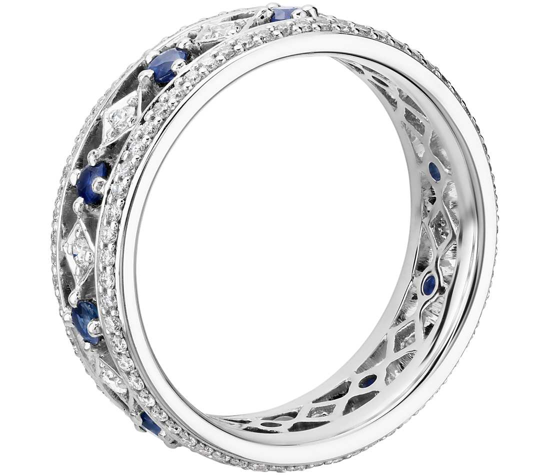 Sapphire And Diamond Eternity Ring In 18k White Gold