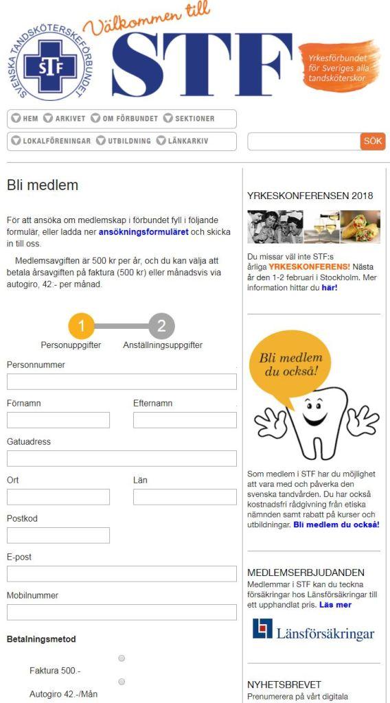 Svenska Tandsköterskeförbundet ny hemsida 2017