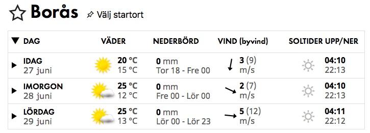 Väder i Borås 28 juni 2019.