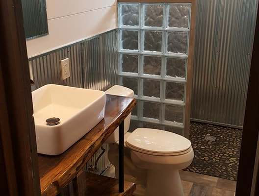Man Cave Bathroom Interesting This Was A Fun Remodel Just Off The Mancave Shower Floor Is Smooth Stone Pebbles And Rest Of Tile That