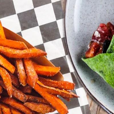 Buffalo Wraps and Sweet Potato Fries