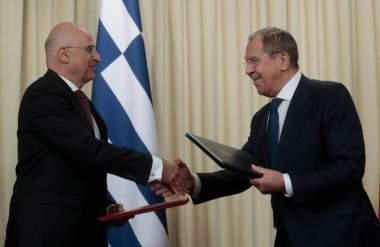 Σε εξέλιξη η συνάντηση Δένδια – Λαβρόφ στο υπουργείο Εξωτερικών