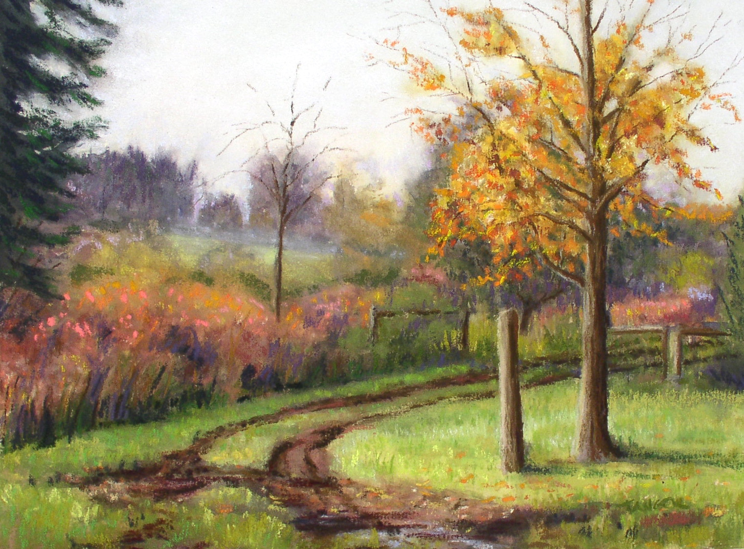 pastel of mud puddle in the dirt road leading to a farm
