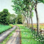 pastel of dirt road with shadows from the trees that line the stone wall leading to the beach