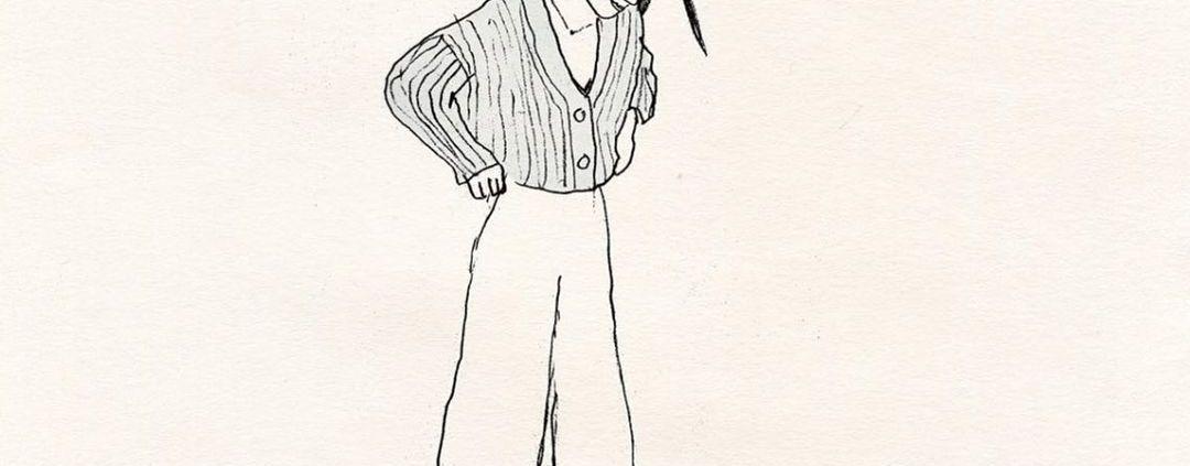 Il·lustració d'Alessandra Olanow amb el text It's OK to push pause, en la que apareic una noia mirant-se els peus i pitjant un botó de pausa situat al terra amb un d'ells.