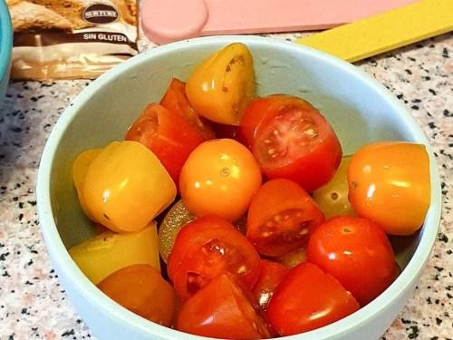 easy focaccia bread - cherry tomato