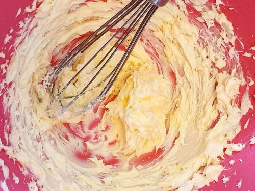Piña Colada Cake - recipe - mixing the ingredients-step1-beating butter