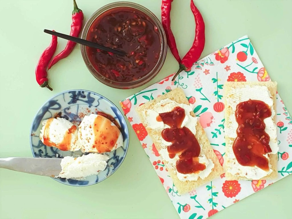 Thai Sweet Chili Sauce - served with cream cheese and corn bread crackers