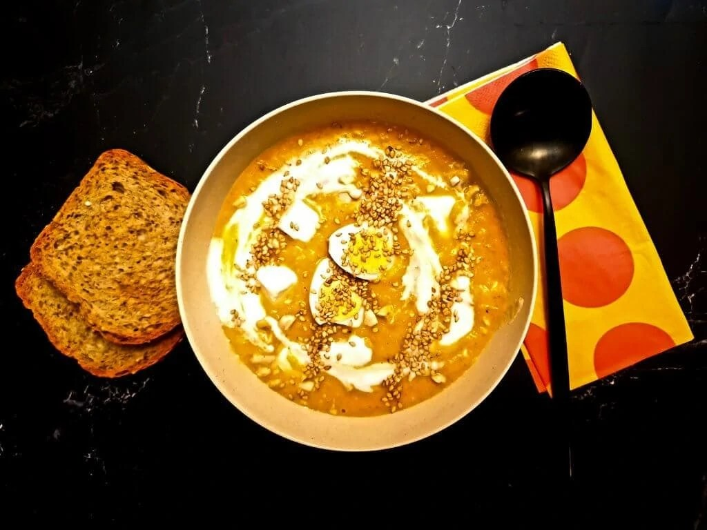 Pumpkin Cream Soup With Feta Cheese - Ready to eat