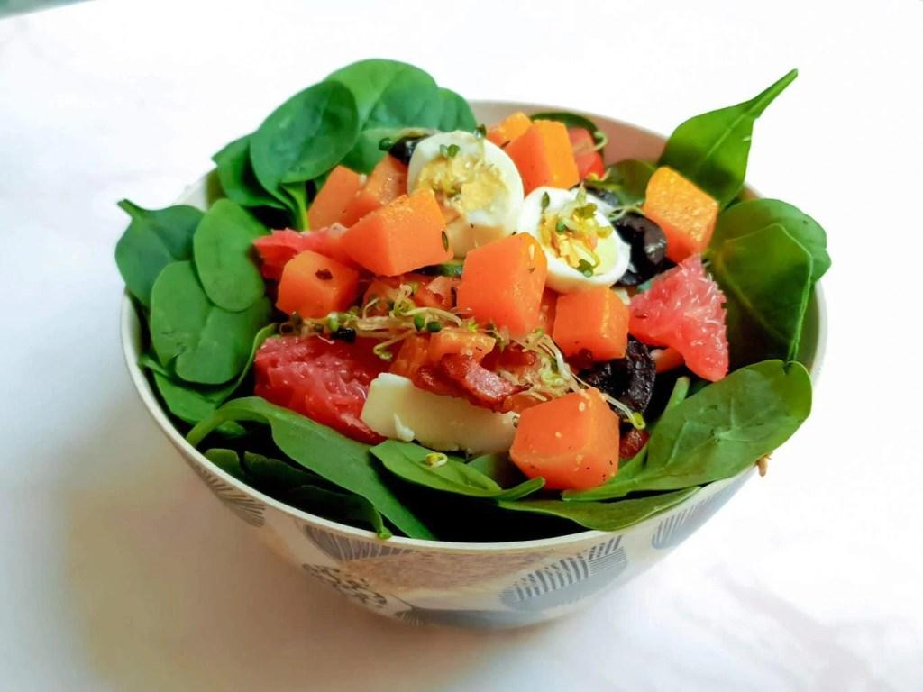 Pumpkin - Spinach Salad - served