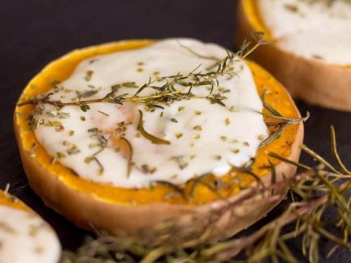 Roasted Butternut Pumpkin With Mozzarella - Halloween Recipe