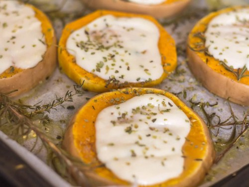 Roasted Butternut Pumpkin With Mozzarella - recipe ingredients - fresh from the oven