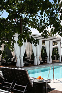 The cabanas at Hotel Shangri La Santa Monica