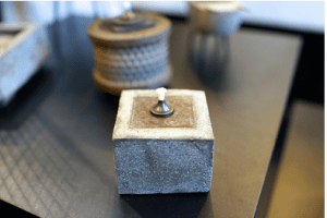 cement oil lamp by cowboy zen artist Grayson Malone
