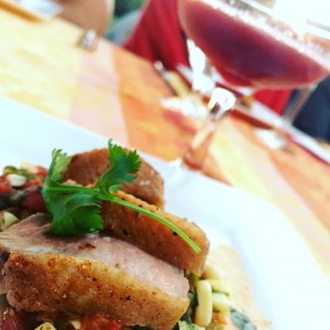 Seared Duck Breast with Fire Roasted Tomato, Poblano, and Corn Salsa paired with Hibiscus Cooler.