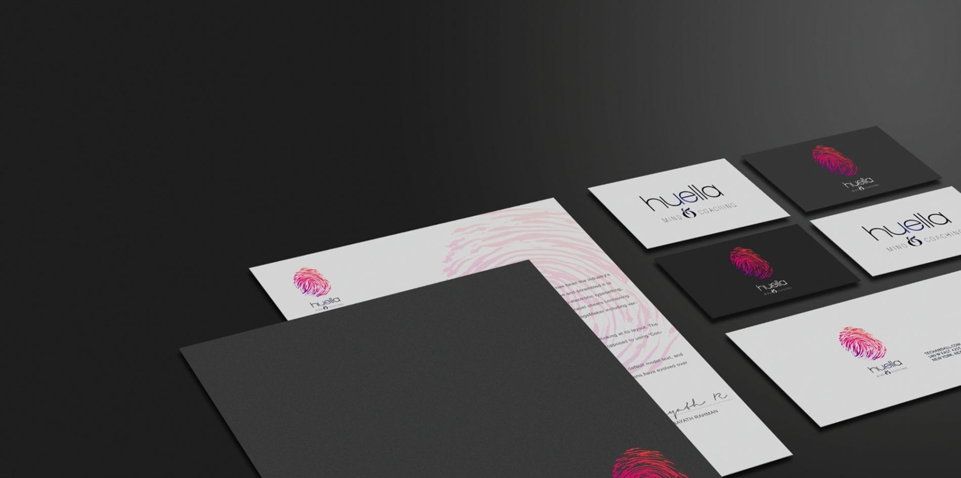 Huella Coaching, diseño de logotipo y papelería corporativa para empresa de coaching