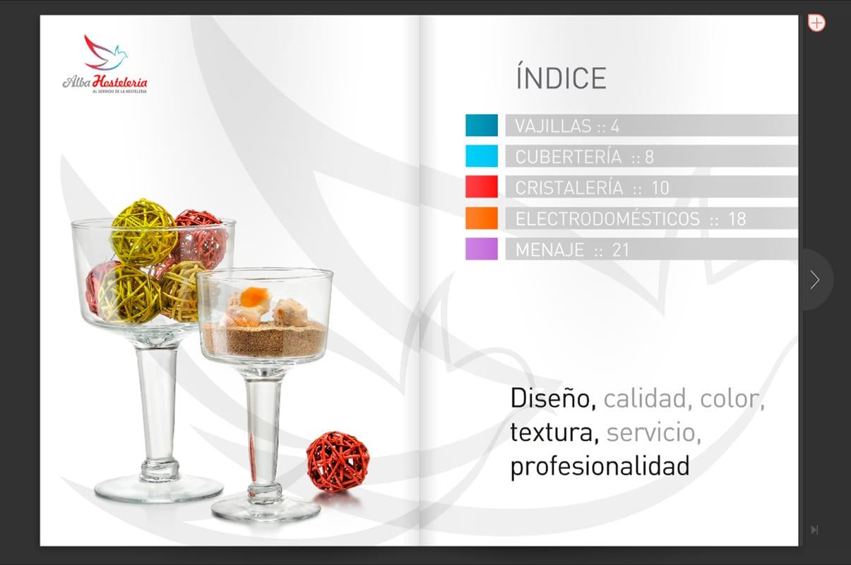 diseño de catalogo de producto para alba hosteleria