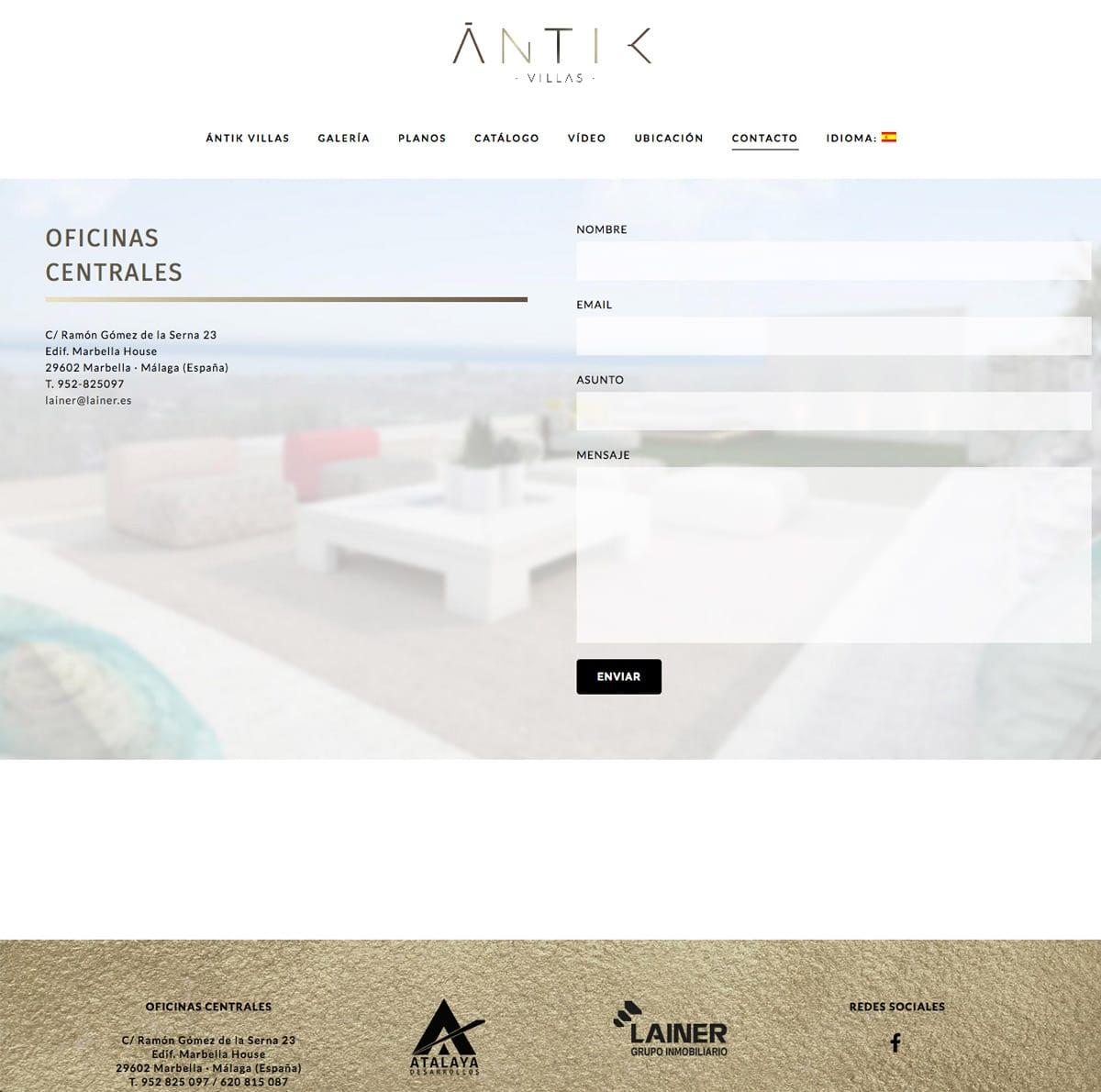 diseño de contacto para web
