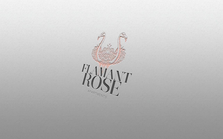 Flamant rose, diseño de logo elegante