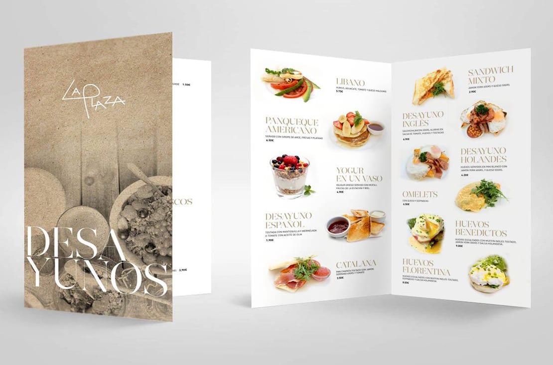 La plaza, cartas de desayunos diseño
