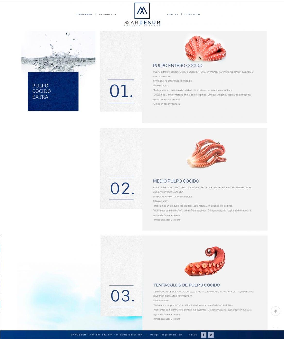 desarrollo web para empresa de alimentación