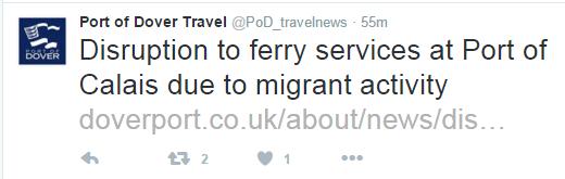 Port of Dover - komunikat na Twitterze