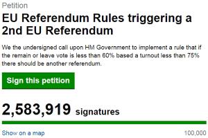 Petycja o kolejne referendum unijne - brexit