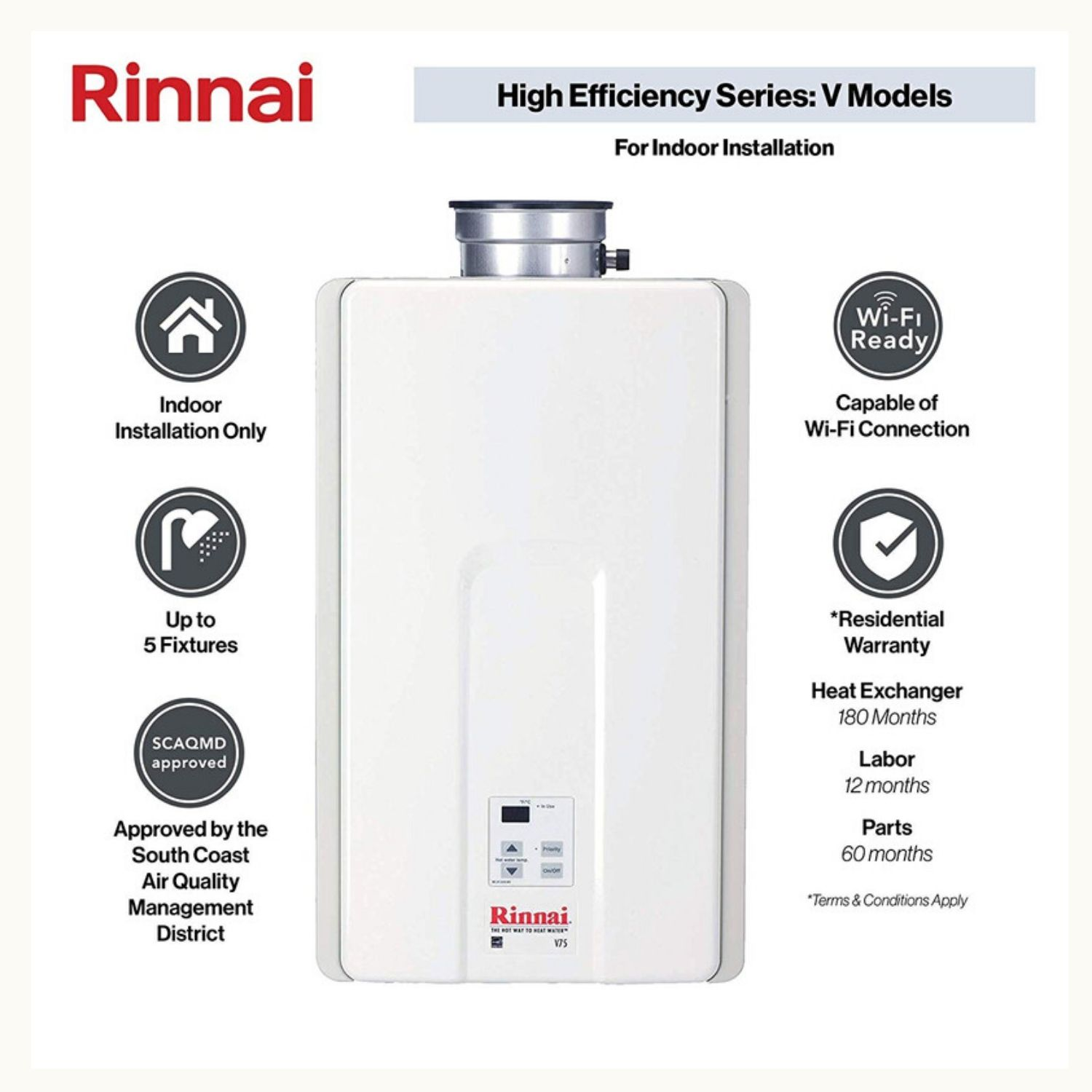 Rinnai V Series HE Tankless Indoor Water Heater