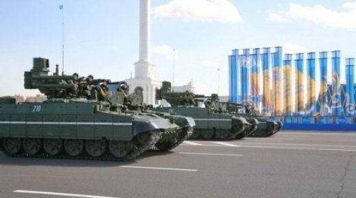 Kazakhstani BMPTs being used during a parade.