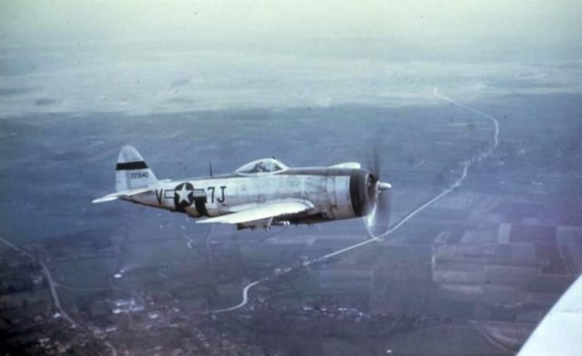 P-47 Thunderbolt of the 404th Fighter Group in flight over Belgium, March 1945
