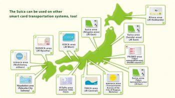 Intercompatibilité : la carte Suica peut être utilisée sur toutes ces zones