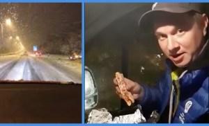 Voihan takatalvi! Jukka Hallikainen jäi yöllä jumiin jäiselle tielle – kylmä pitsa lohtuna