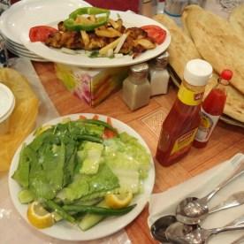 Salad and kebab