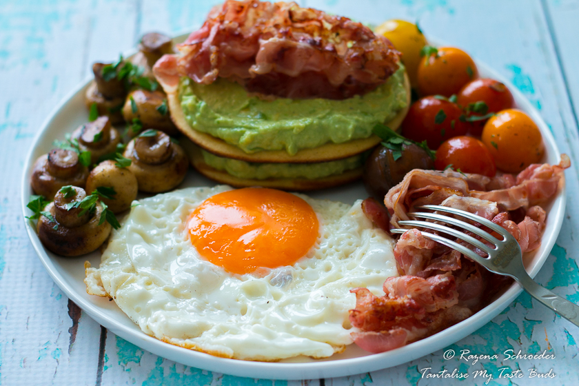 Almond and Coconut breakfast pancakes with eggs, avocado and veal bacon