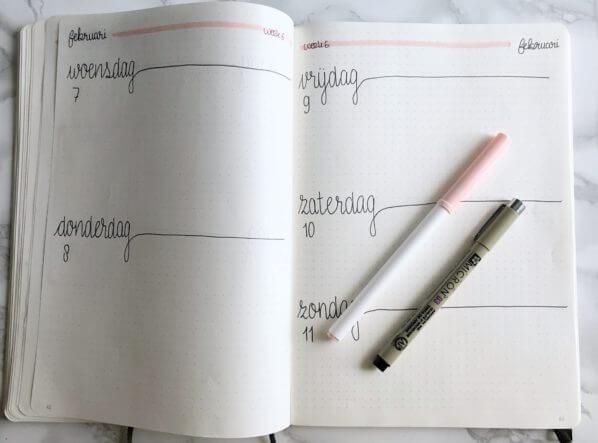 bullet journal setup voor februari