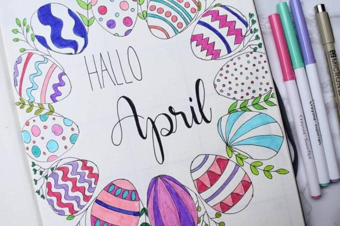 bullet journal setup voor april