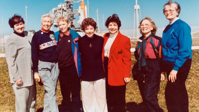 The Mercury 13 women who trained to become astronauts, including Wally Funk, second from the left