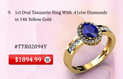 1ct Oval Tanzanite Ring With .41ctw Diamonds