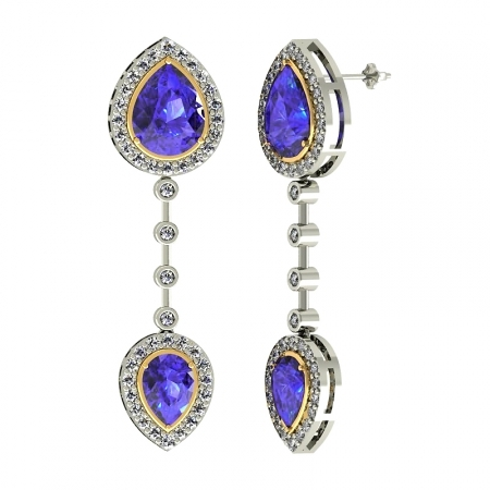 Pear Tanzanite Earring
