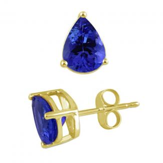 Pear Cut Tanzanite Studs Earrings in 14k Yellow Gold