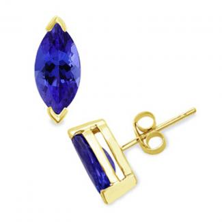 12 X 6 mm Marquise Cut Tanzanite Studs Earrings in 14k Yellow Gold