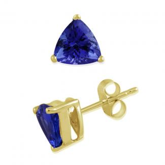 12x12 MM Trillion Cut Tanzanite Studs Earrings in 14k Yellow Gold
