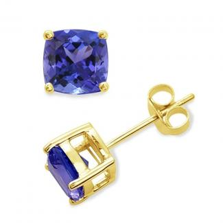 10 X 10 mm Cushion Cut Tanzanite Studs Earrings in 14k Yellow Gold