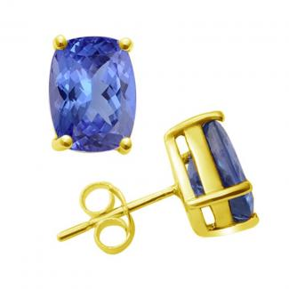 Cushion Cut Tanzanite Studs Earrings in 14k Yellow Gold