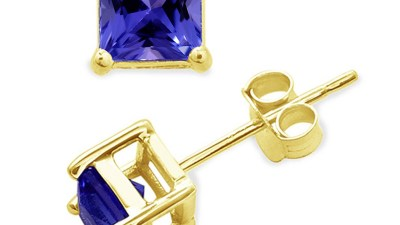 Tanzanite Stud Earrings Gold