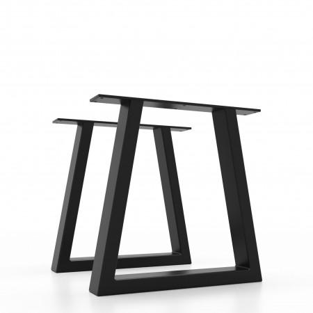 2x pieds de table basse banc en metal en forme de trapeze trt6030