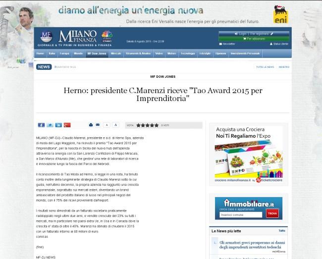 Herno presidente C.Marenzi riceve quot;Tao Award 2015 per Imprenditoria quot; - MilanoFinanza